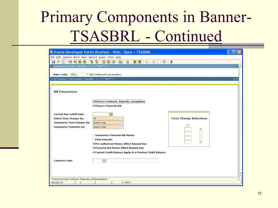 Primary Components in Banner- TSASBRL - Continued 19