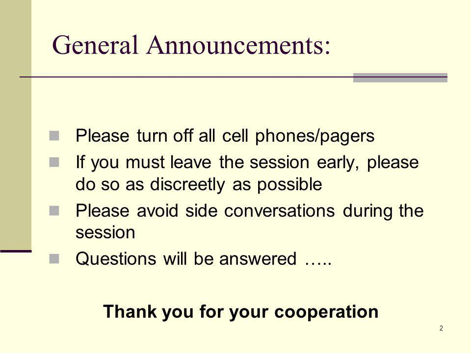 General Announcements: Please turn off all cell phones/pagers If you must leave the session early, please do so as discreetly as possible Please avoid