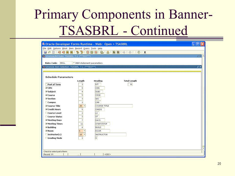 Primary Components in Banner- TSASBRL - Continued 20