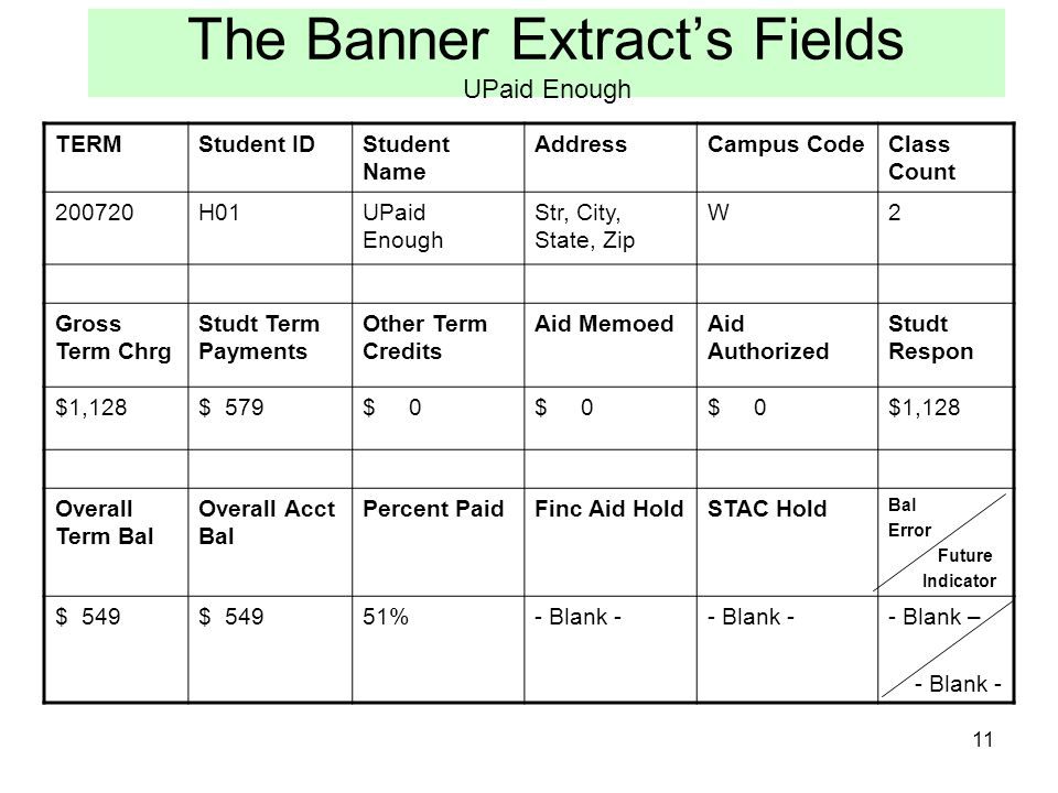 11 The Banner Extracts Fields UPaid Enough TERMStudent IDStudent Name AddressCampus CodeClass Count 200720H01UPaid Enough Str, City, State, Zip W2 Gro