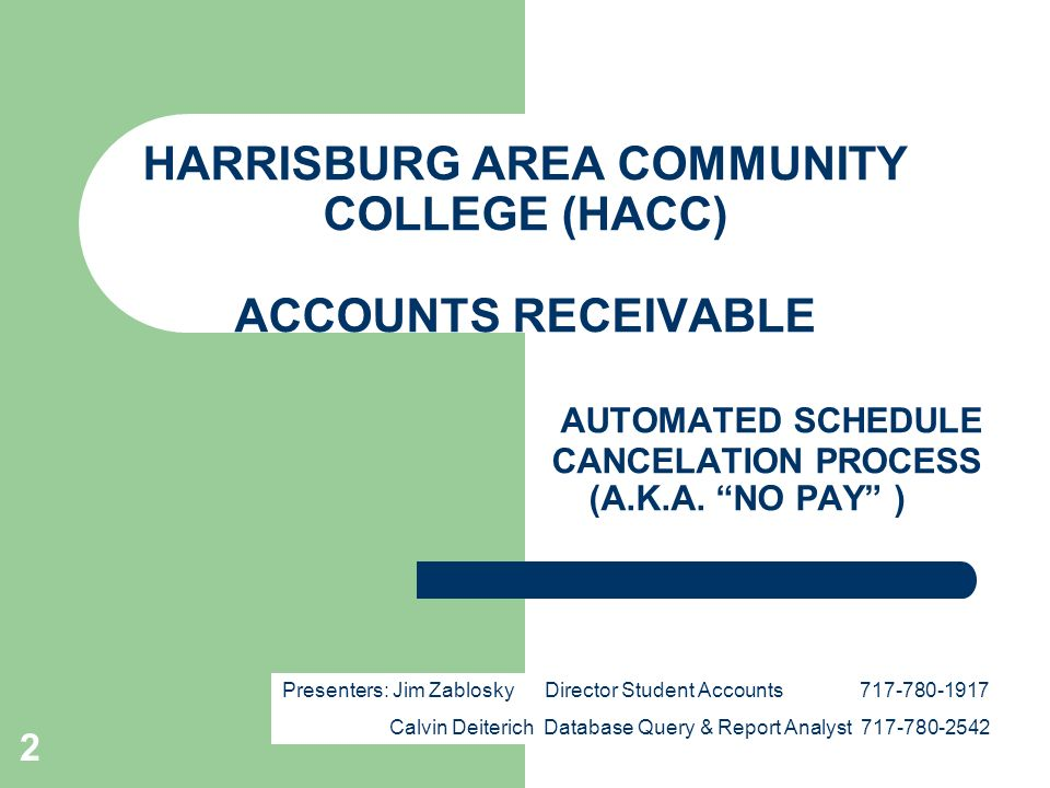 2 HARRISBURG AREA COMMUNITY COLLEGE (HACC) ACCOUNTS RECEIVABLE AUTOMATED SCHEDULE CANCELATION PROCESS (A.K.A.