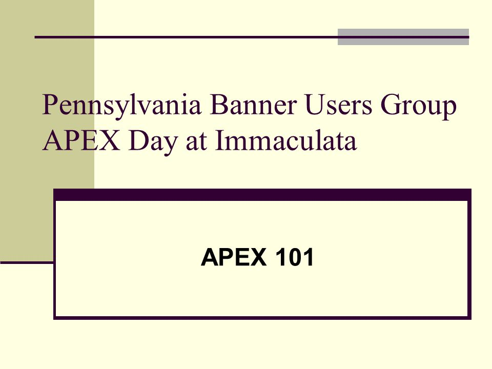 Pennsylvania Banner Users Group APEX Day at Immaculata APEX 101