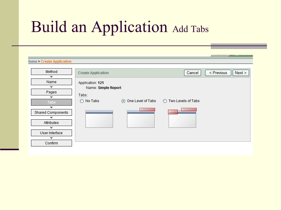 Build an Application Add Tabs