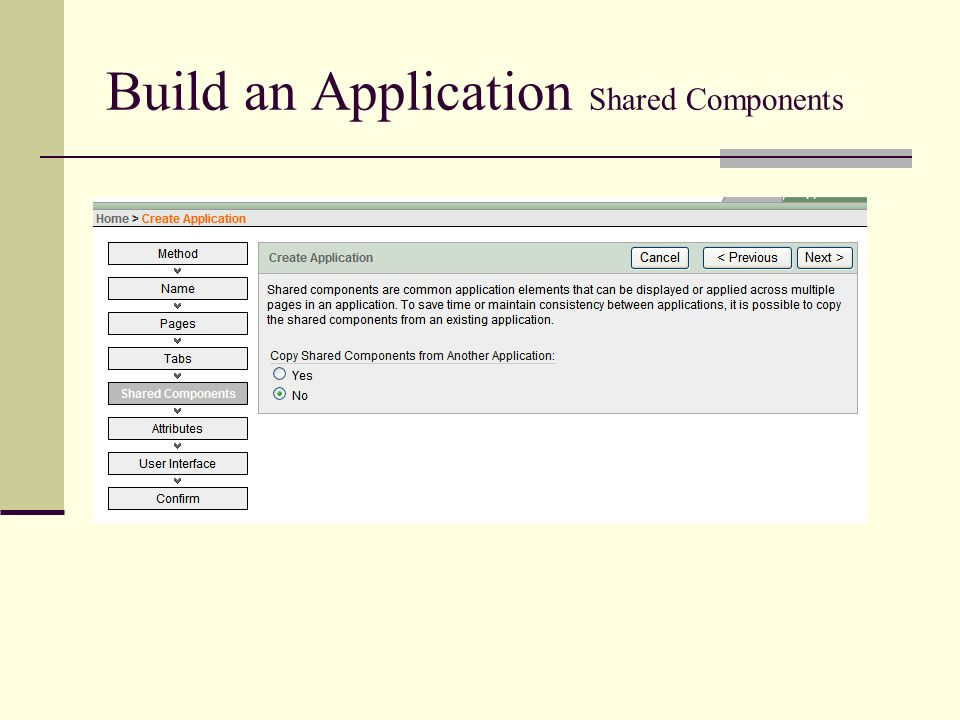 Build an Application Shared Components