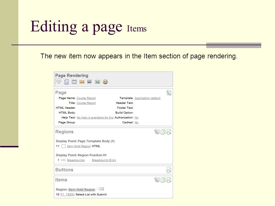 Editing a page Items The new item now appears in the Item section of page rendering.