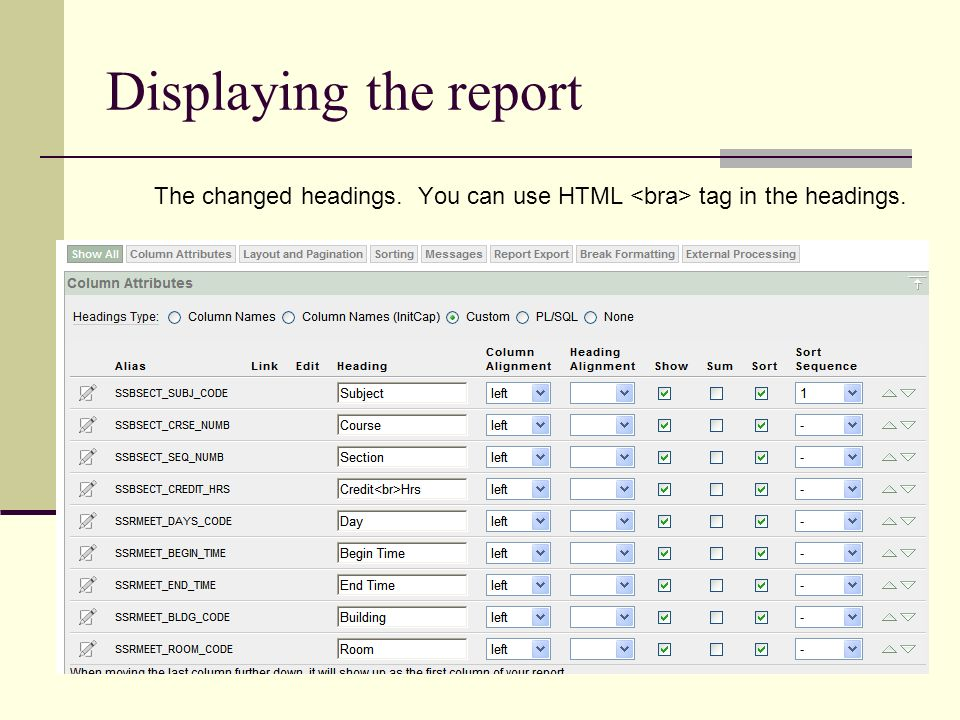 Displaying the report The changed headings. You can use HTML tag in the headings.