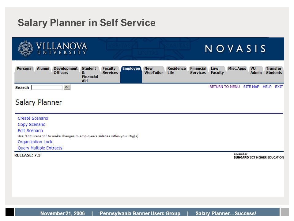 November 21, 2006 | Pennsylvania Banner Users Group | Salary Planner…Success! Salary Planner in Self Service