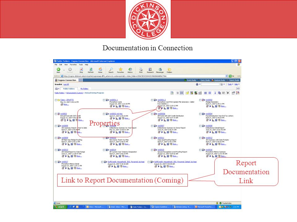 Documentation in Connection Properties Link to Report Documentation (Coming) Report Documentation Link