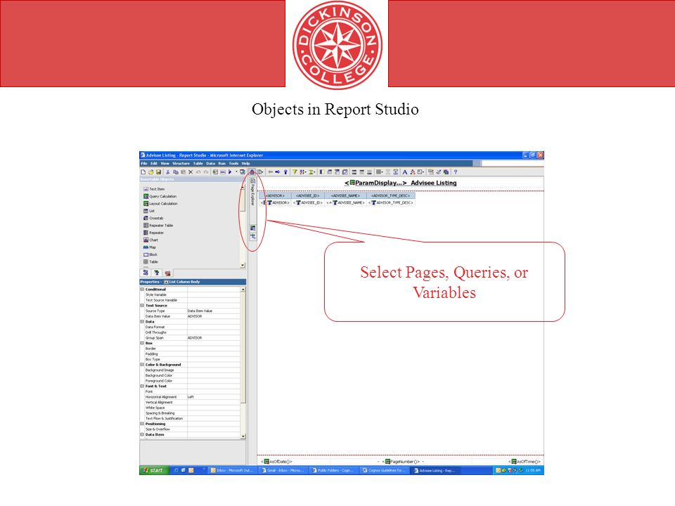 Select Pages, Queries, or Variables Objects in Report Studio