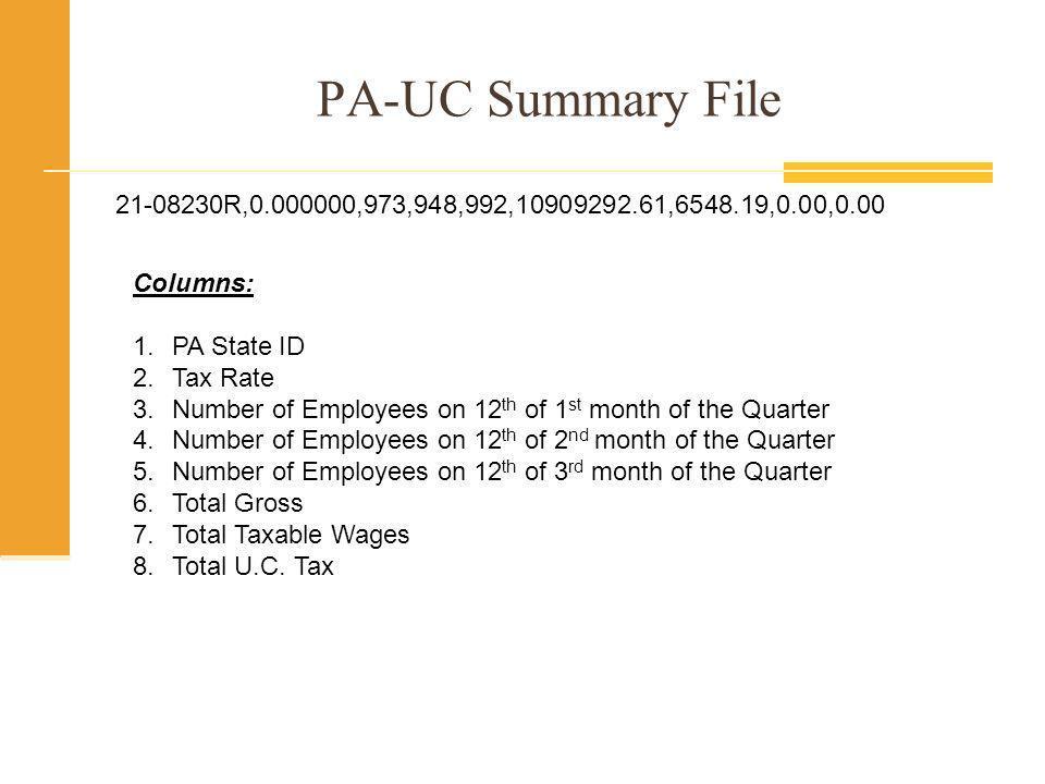 PA-UC Detail File 21-08230R,165883,239431384,Aarons,Paula,M,7750.02,0.00,13 21-08230R,166660,460556968,Abromitis,James,M,7272.00,0.00,12 21-08230R,136