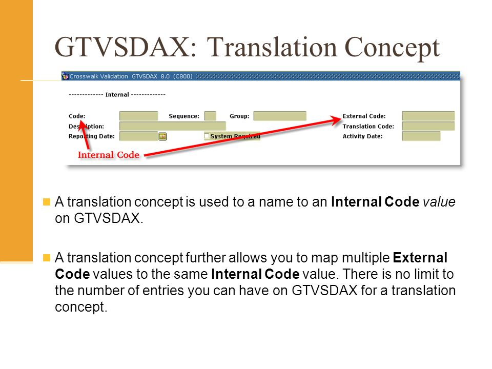 GTVSDAX: Translation Concept A translation concept is used to a name to an Internal Code value on GTVSDAX.