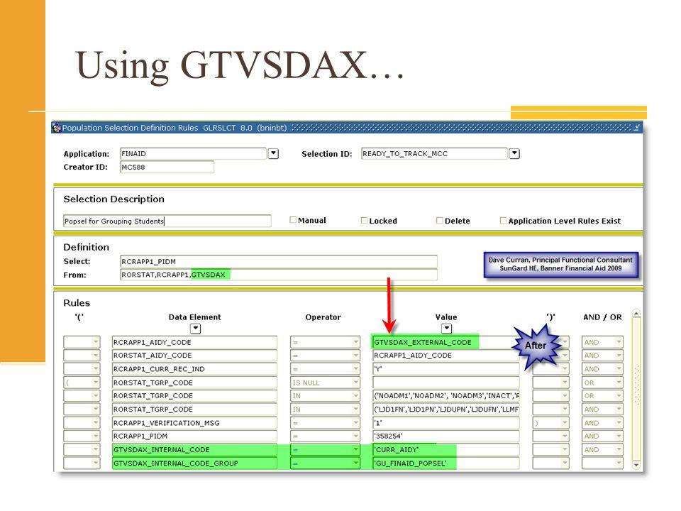 Using GTVSDAX…