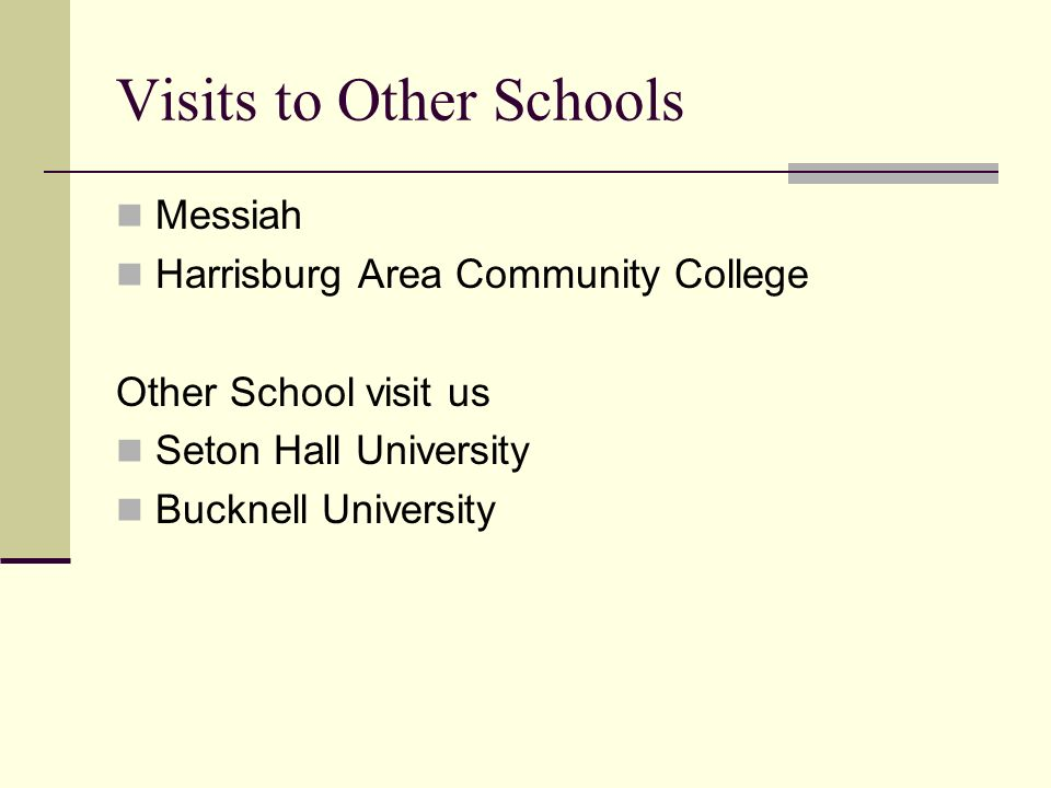 Visits to Other Schools Messiah Harrisburg Area Community College Other School visit us Seton Hall University Bucknell University