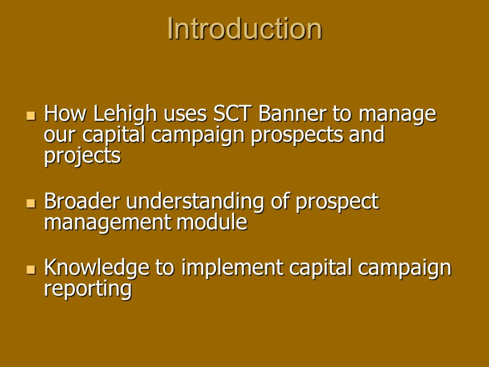 Introduction How Lehigh uses SCT Banner to manage our capital campaign prospects and projects How Lehigh uses SCT Banner to manage our capital campaig
