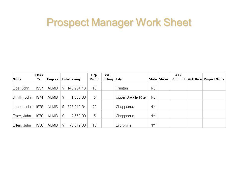Prospect Manager Work Sheet