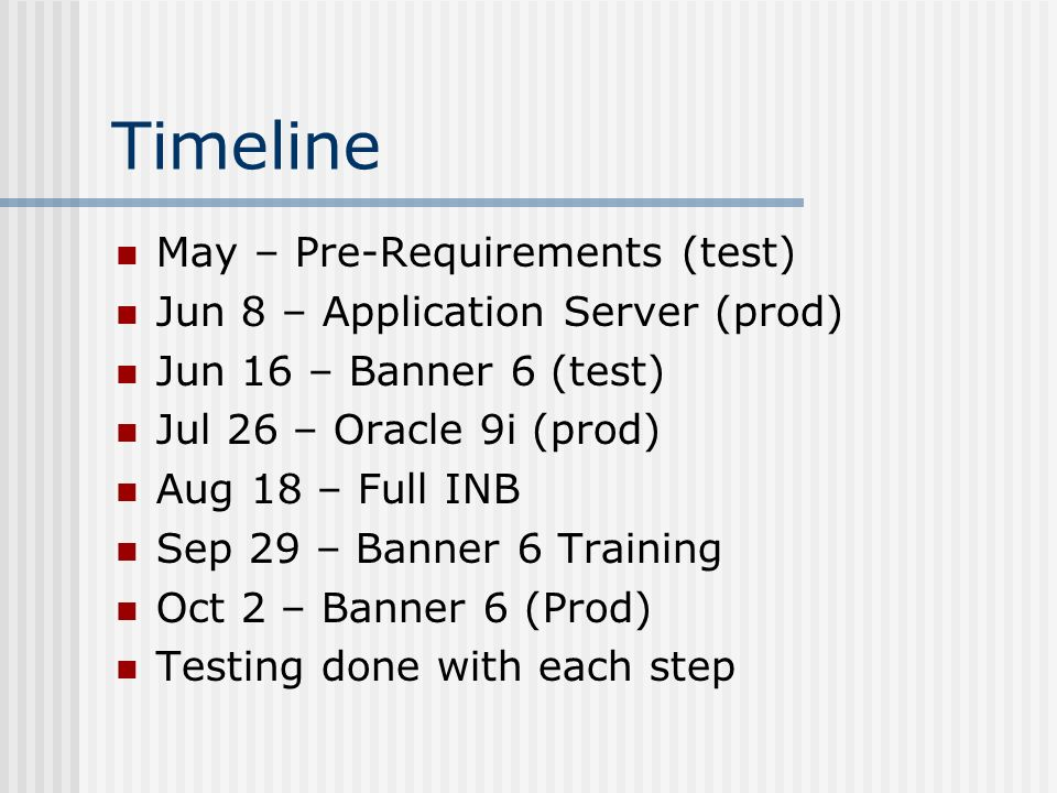 Timeline May – Pre-Requirements (test) Jun 8 – Application Server (prod) Jun 16 – Banner 6 (test) Jul 26 – Oracle 9i (prod) Aug 18 – Full INB Sep 29 –