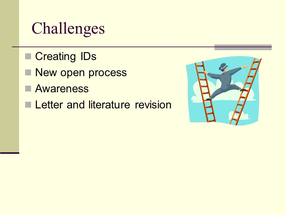 Challenges Creating IDs New open process Awareness Letter and literature revision