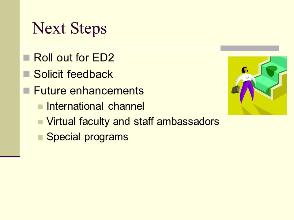 Next Steps Roll out for ED2 Solicit feedback Future enhancements International channel Virtual faculty and staff ambassadors Special programs
