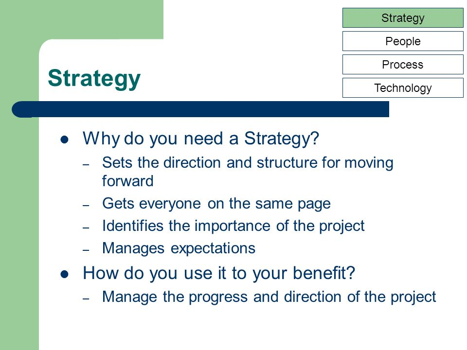 Strategy People Process Technology Goals & Objectives Reporting Tools & Environment Governance Structure Roles & Responsibilities Data Sources Processes Security Strategy Communication Plan Phases and Milestones What are the contents of a Strategy?