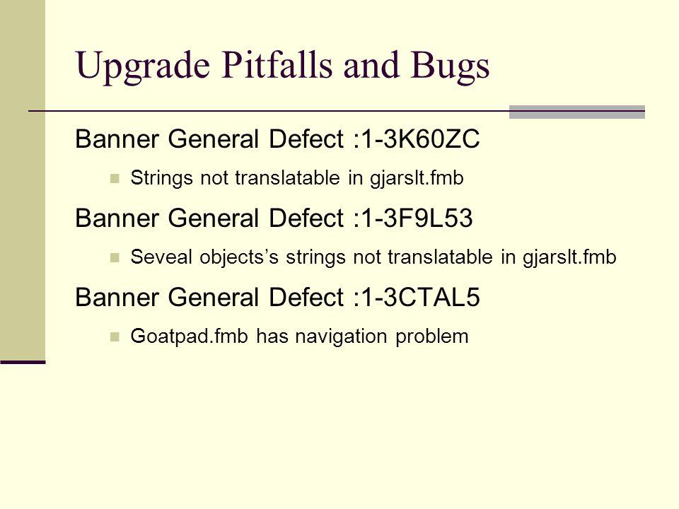 Upgrade Pitfalls and Bugs Banner General Defect :1-3K60ZC Strings not translatable in gjarslt.fmb Banner General Defect :1-3F9L53 Seveal objectss stri