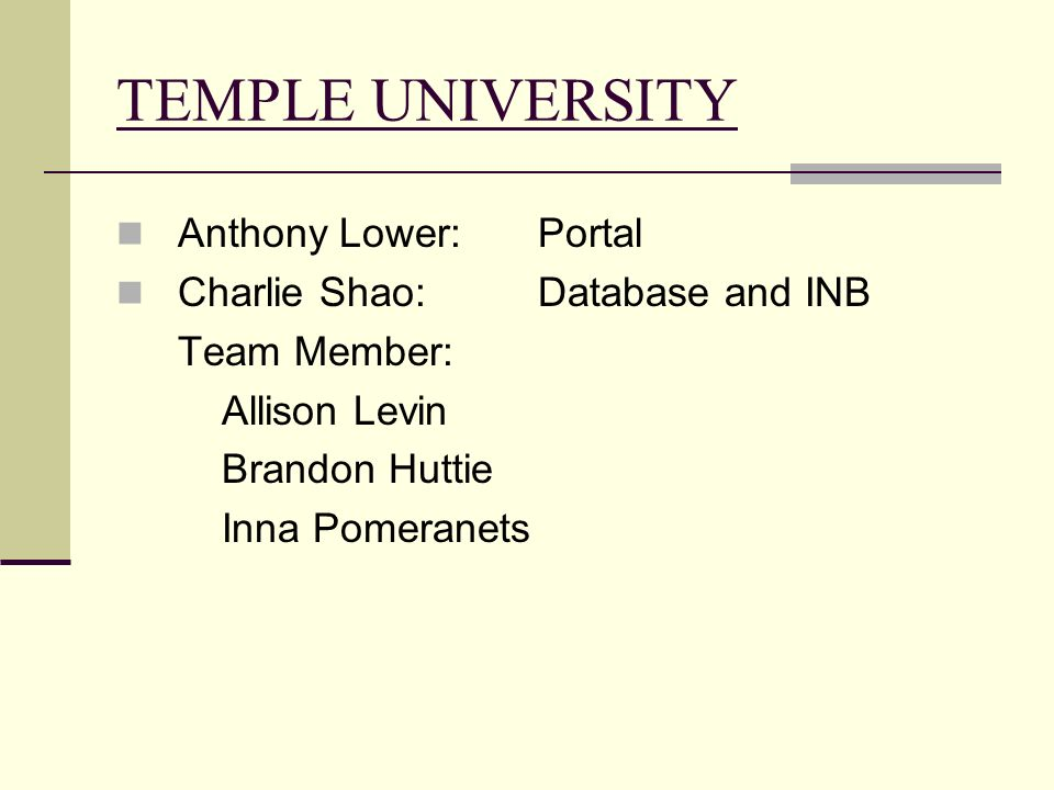 TEMPLE UNIVERSITY Anthony Lower:Portal Charlie Shao:Database and INB Team Member: Allison Levin Brandon Huttie Inna Pomeranets