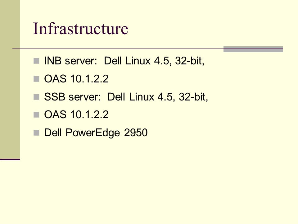 Infrastructure INB server: Dell Linux 4.5, 32-bit, OAS 10.1.2.2 SSB server: Dell Linux 4.5, 32-bit, OAS 10.1.2.2 Dell PowerEdge 2950