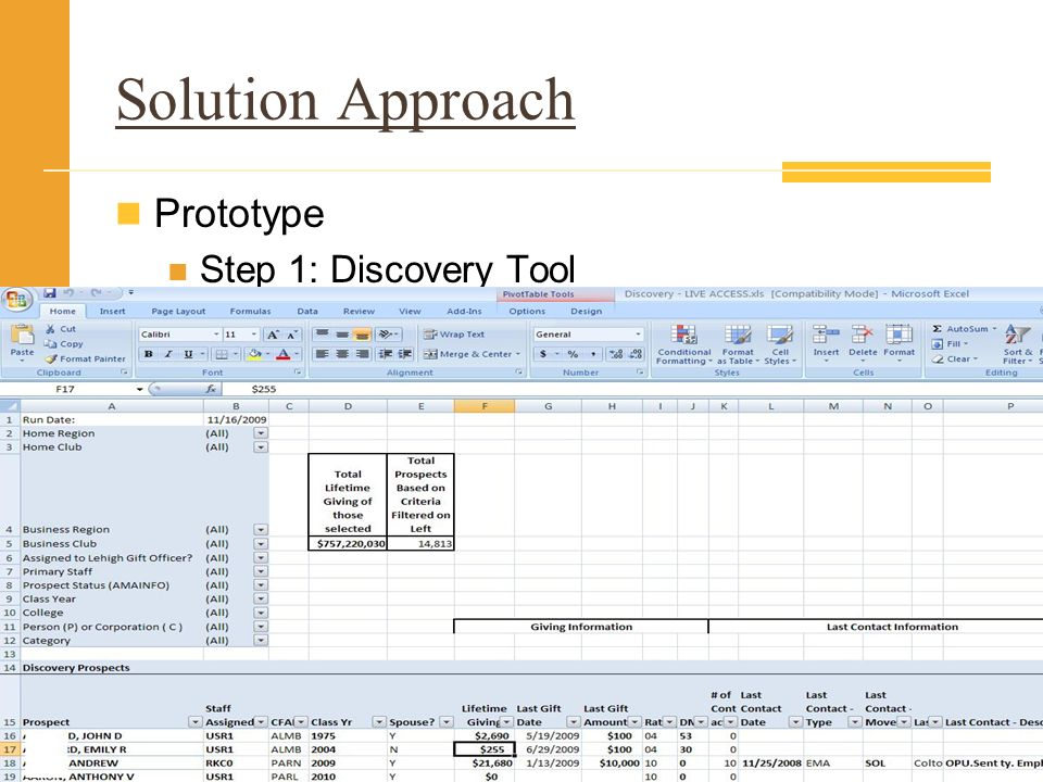 Solution Approach Prototype Step 1: Discovery Tool
