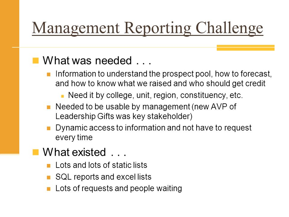 Management Reporting Challenge What was needed...