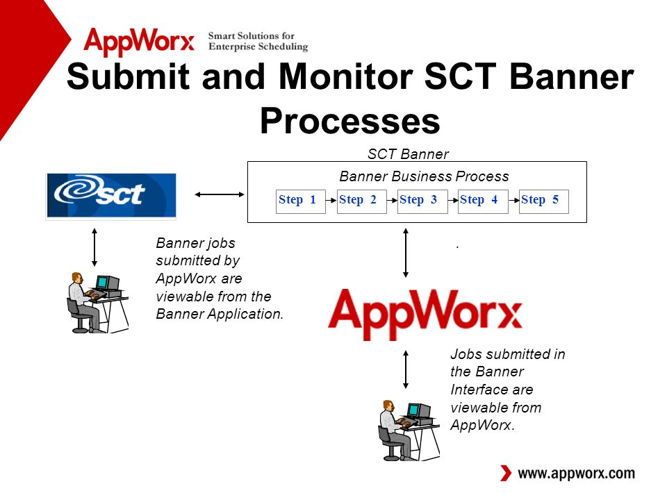 SCT Banner Banner Business Process Step 1Step 2Step 3Step 4Step 5 Submit and Monitor SCT Banner Processes.Banner jobs submitted by AppWorx are viewable from the Banner Application.