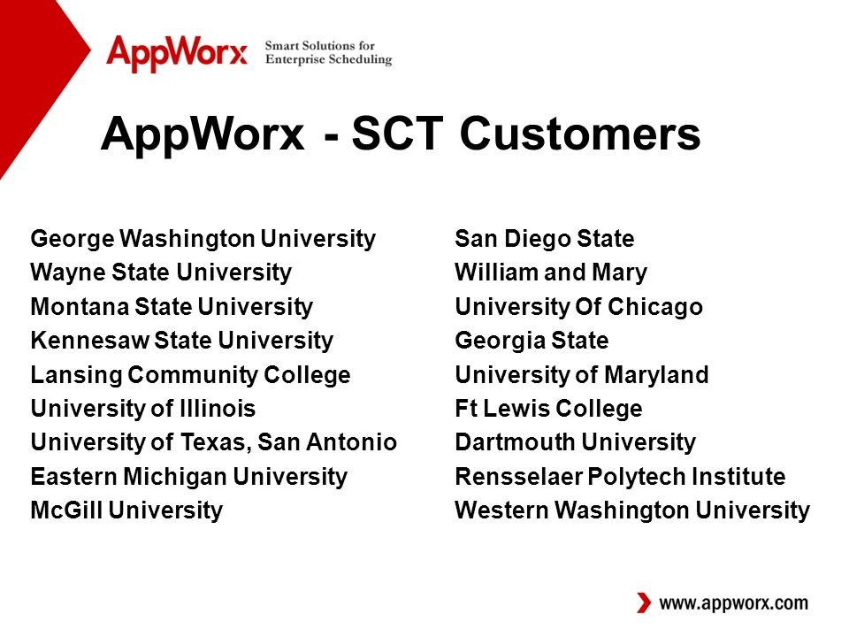 AppWorx - SCT Customers George Washington UniversitySan Diego State Wayne State UniversityWilliam and Mary Montana State UniversityUniversity Of Chicago Kennesaw State UniversityGeorgia State Lansing Community College University of Maryland University of IllinoisFt Lewis College University of Texas, San AntonioDartmouth University Eastern Michigan University Rensselaer Polytech Institute McGill UniversityWestern Washington University