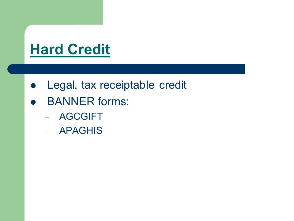 Hard Credit Legal, tax receiptable credit BANNER forms: – AGCGIFT – APAGHIS