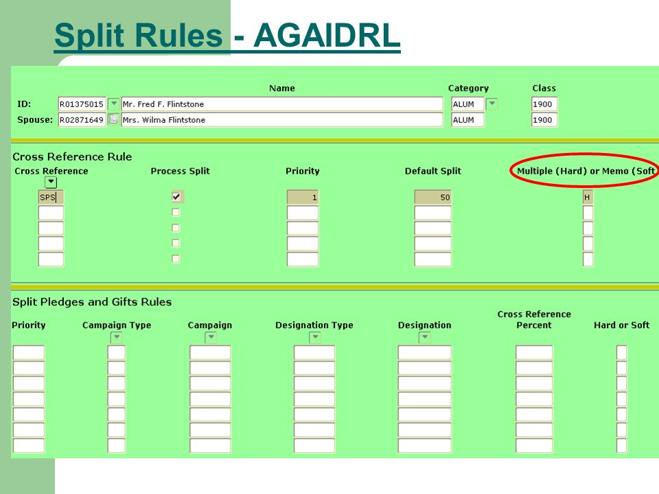 Split Rules - AGAIDRL