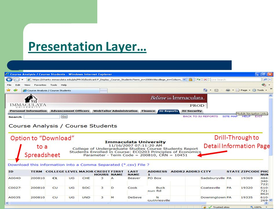 Presentation Layer… Drill-Through to Detail Information Page Option to Download to a Spreadsheet