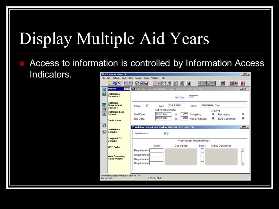 Display Multiple Aid Years Access to information is controlled by Information Access Indicators.