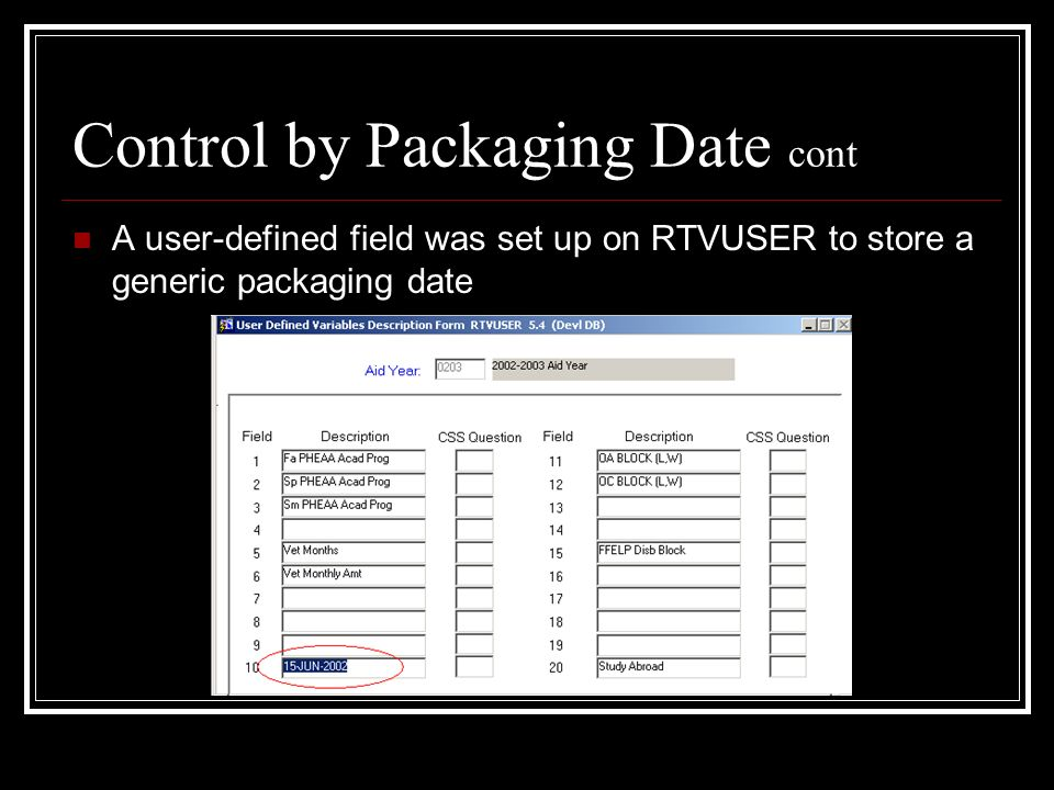 Control by Packaging Date cont A user-defined field was set up on RTVUSER to store a generic packaging date