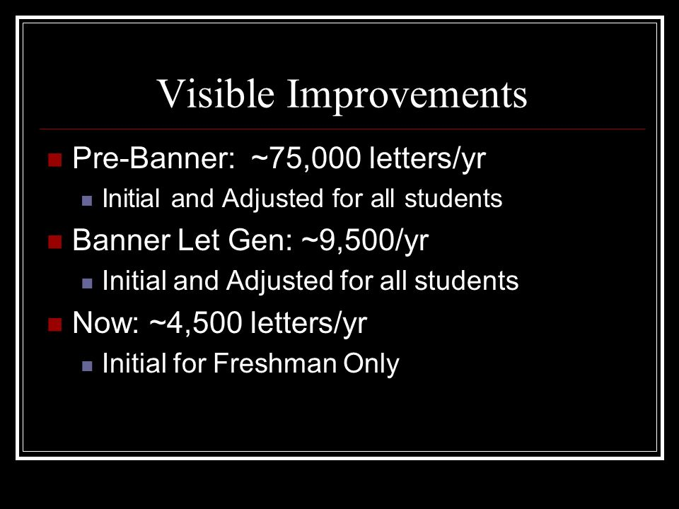 Visible Improvements Pre-Banner: ~75,000 letters/yr Initial and Adjusted for all students Banner Let Gen: ~9,500/yr Initial and Adjusted for all students Now: ~4,500 letters/yr Initial for Freshman Only