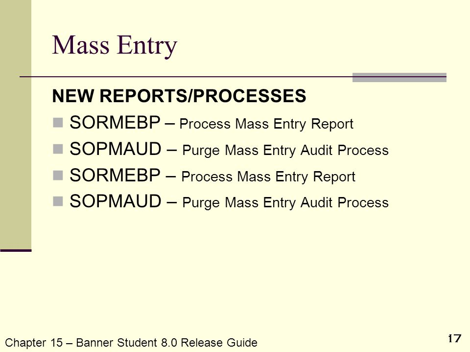 17 Mass Entry NEW REPORTS/PROCESSES SORMEBP – Process Mass Entry Report SOPMAUD – Purge Mass Entry Audit Process SORMEBP – Process Mass Entry Report S