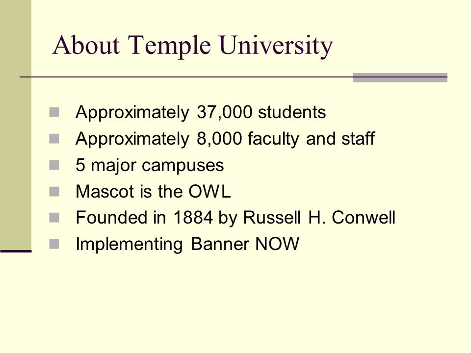 About Temple University Approximately 37,000 students Approximately 8,000 faculty and staff 5 major campuses Mascot is the OWL Founded in 1884 by Russell H.