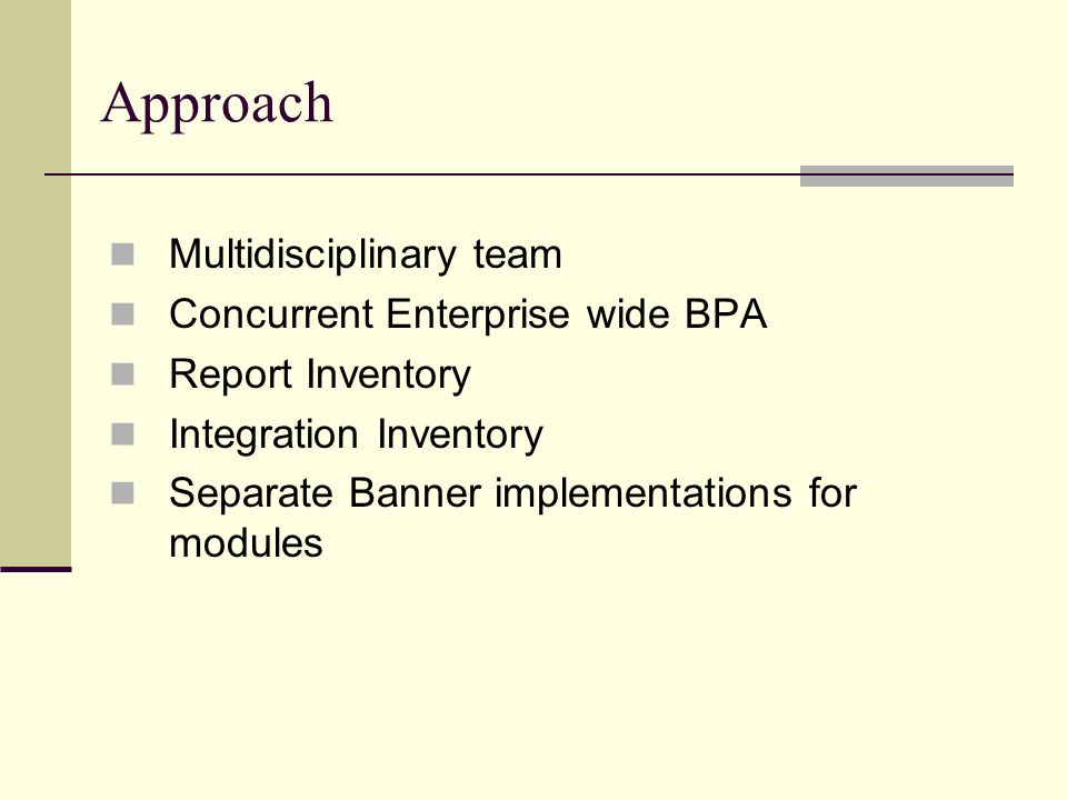 Approach Multidisciplinary team Concurrent Enterprise wide BPA Report Inventory Integration Inventory Separate Banner implementations for modules