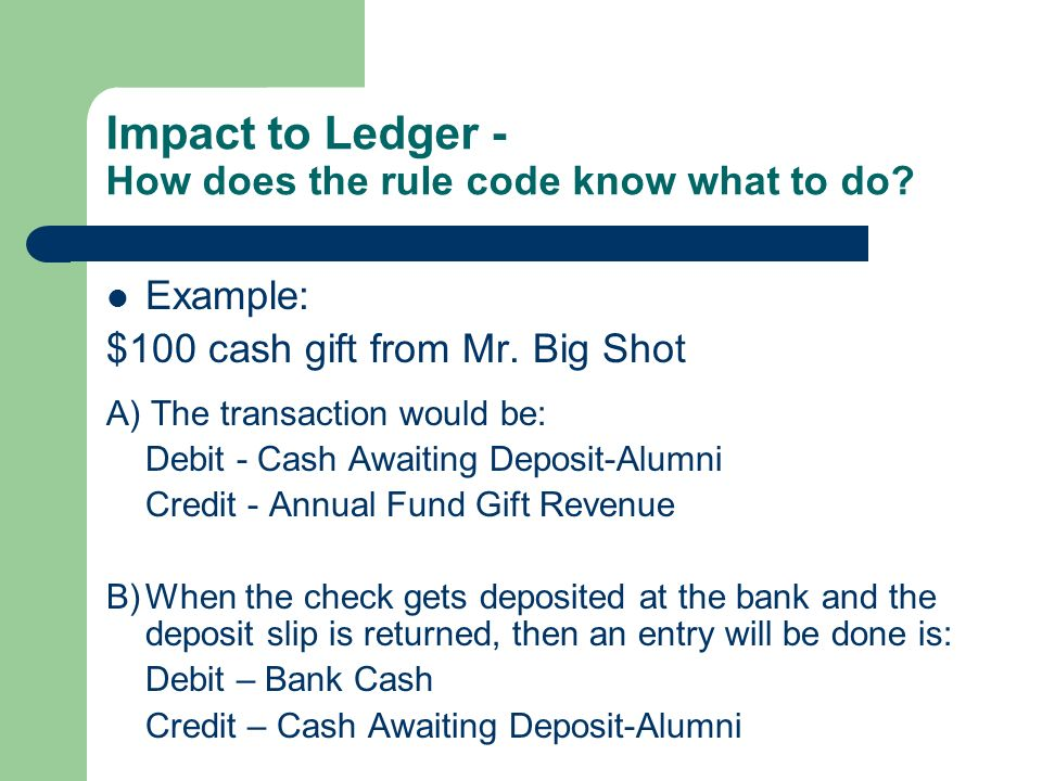 Impact to Ledger - How does the rule code know what to do.