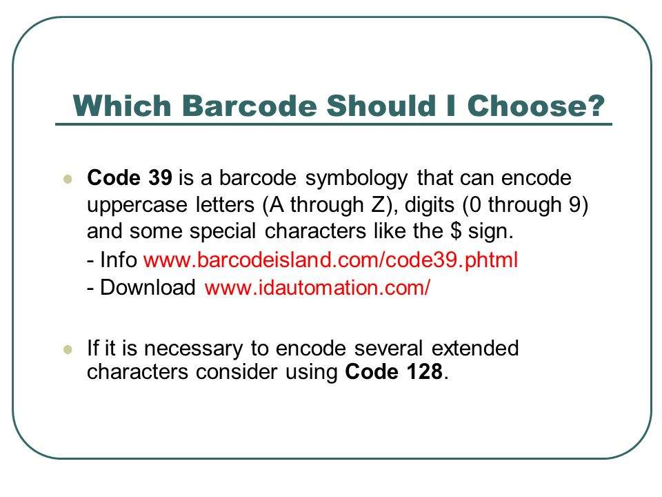 Code 39 is a barcode symbology that can encode uppercase letters (A through Z), digits (0 through 9) and some special characters like the $ sign. - In
