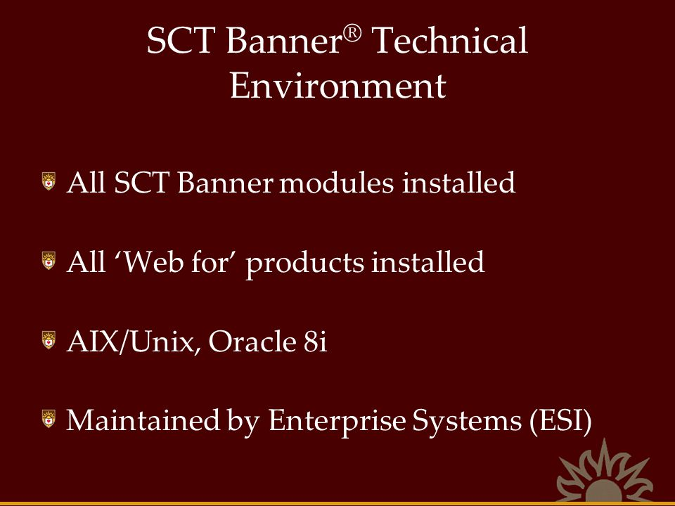 SCT Banner ® Technical Environment All SCT Banner modules installed All Web for products installed AIX/Unix, Oracle 8i Maintained by Enterprise System
