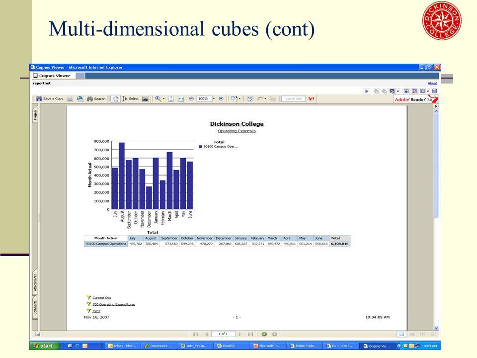 Multi-dimensional cubes (cont)