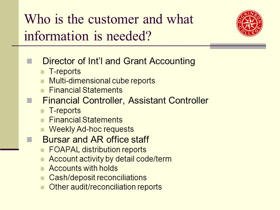Who is the customer and what information is needed.