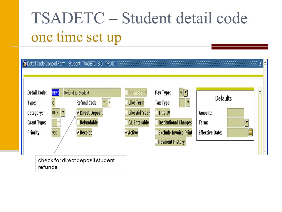 TSADETC – Student detail code one time set up check for direct deposit student refunds