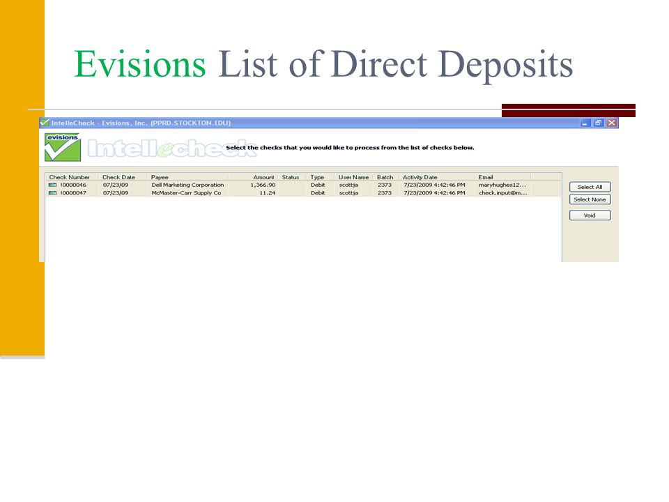 Evisions List of Direct Deposits