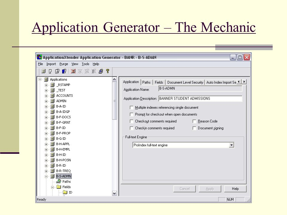 Application Generator – The Mechanic