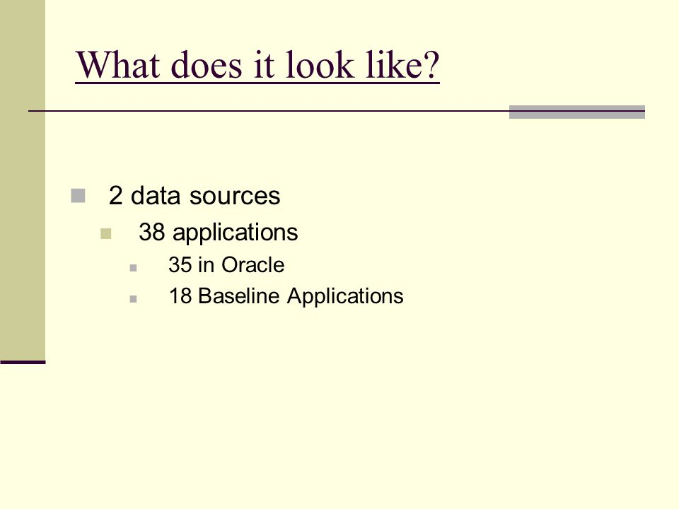 What does it look like? 2 data sources 38 applications 35 in Oracle 18 Baseline Applications