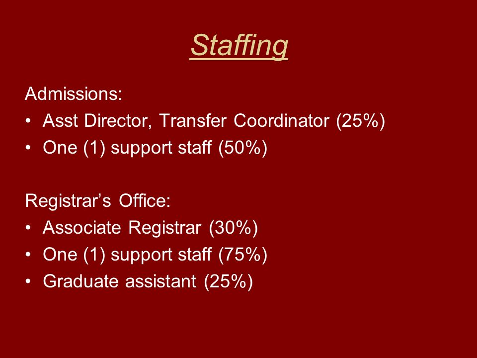 Staffing Admissions: Asst Director, Transfer Coordinator (25%) One (1) support staff (50%) Registrars Office: Associate Registrar (30%) One (1) support staff (75%) Graduate assistant (25%)