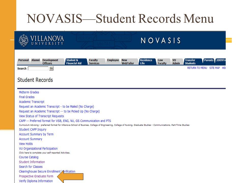 NOVASISStudent Records Menu